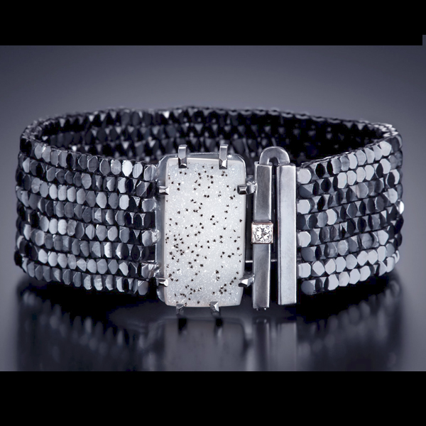 Dalmatian Druzy Bracelet with Diamond